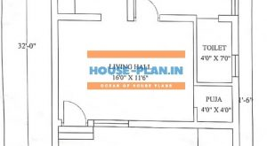 1bhk house plan 23×32