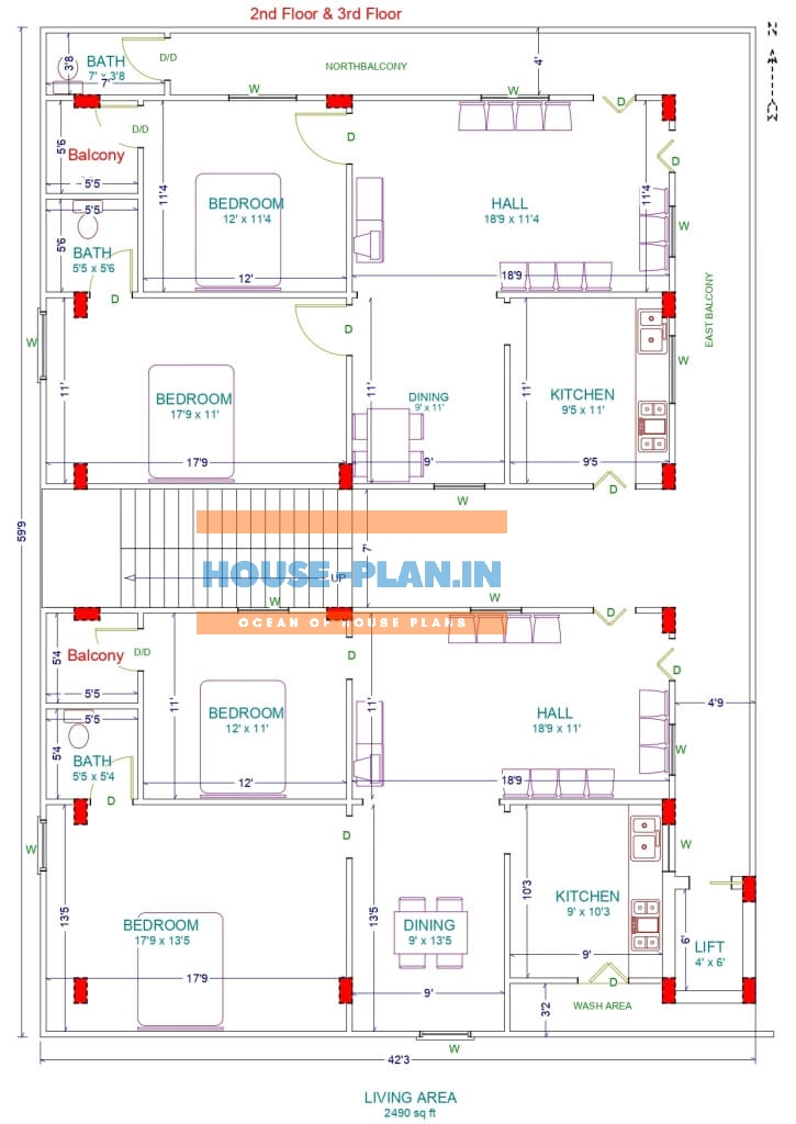 2 partition house plan 35×61 first & second floor