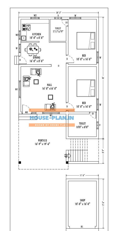 28×60 house plan indian style