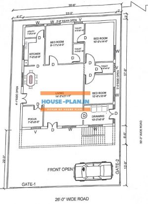 3 bedroom house plan Indian style 39×58
