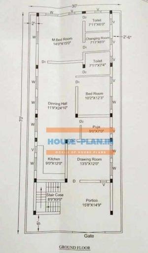 3 room house plan