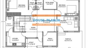 4 bedroom house plan 48×33 ground floor
