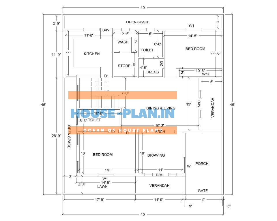 40×45 house plan for south facing plot with two bedrooms