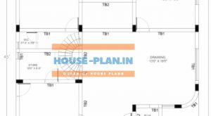 40×45 house plan north facing ground floor