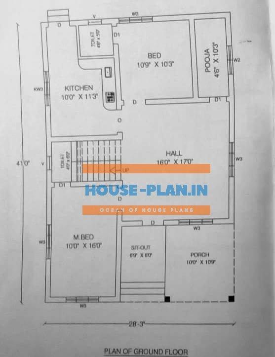 house plan 28×41 ground floor
