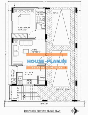 house plan 30×40 ground floor