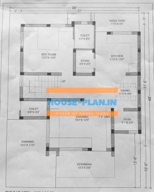house plan 34×45 ground floor