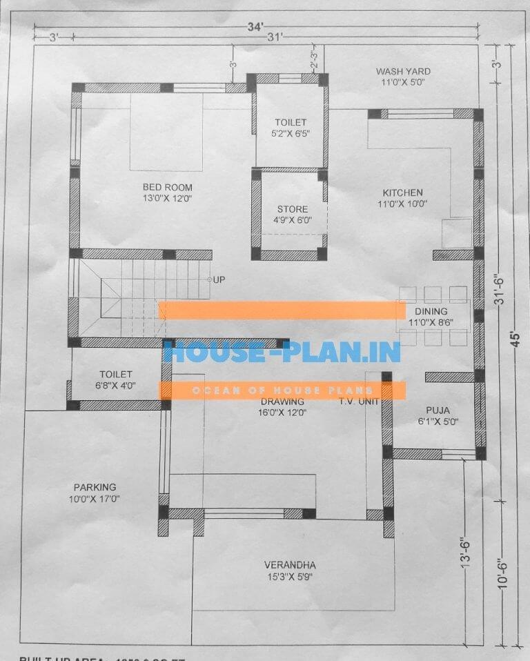 house plan 34×45 ground floor