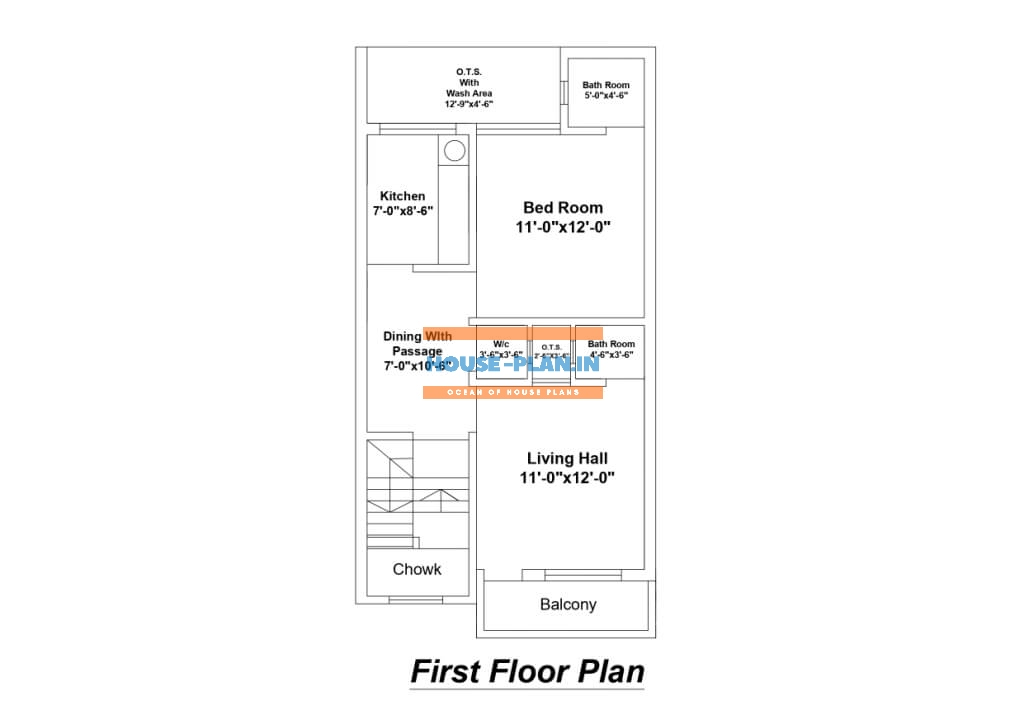 house plan drawing 19×35 first floor