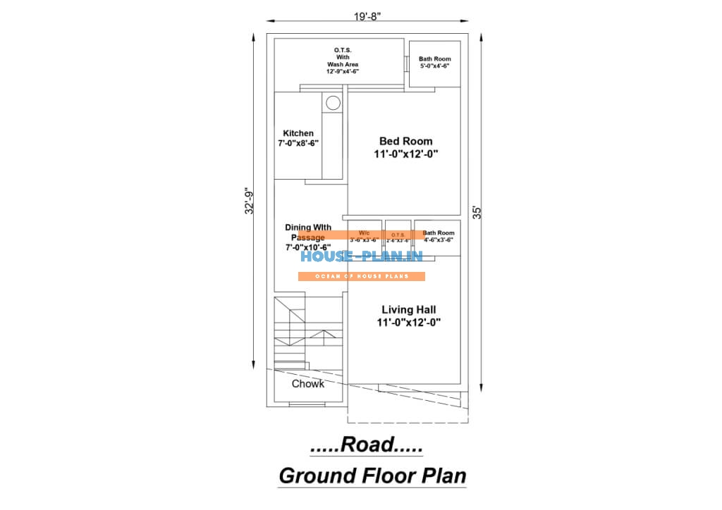 house plan drawing 19×35 ground floor 1