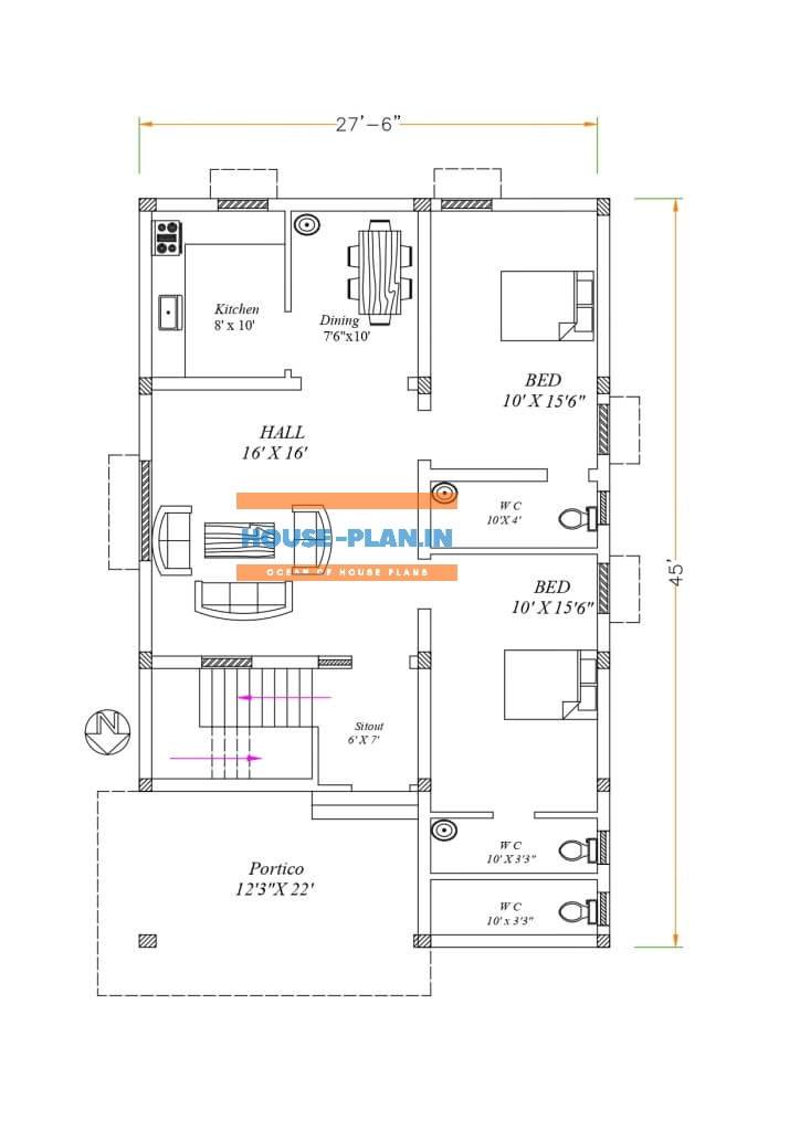 plan for house 27×45 ground floor