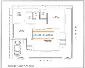 single bedroom house plan 36×32