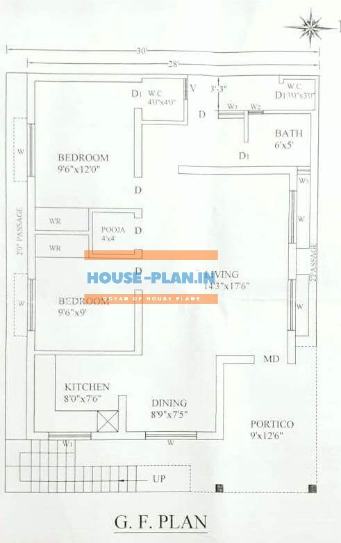 south face house plan 30×37