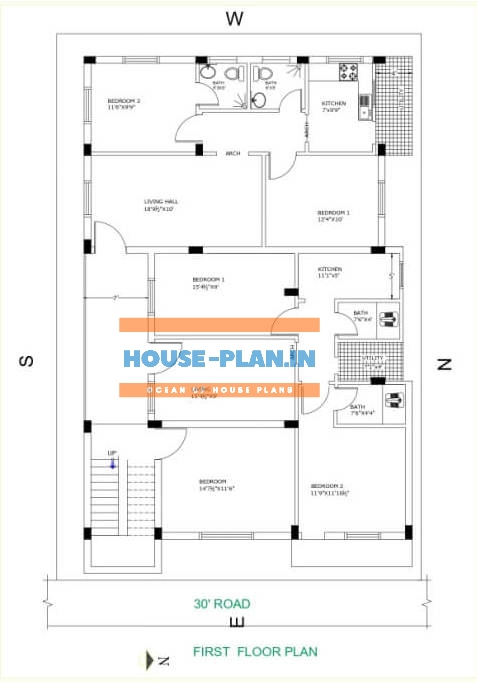 south facing house plan 40×65 first floor 1