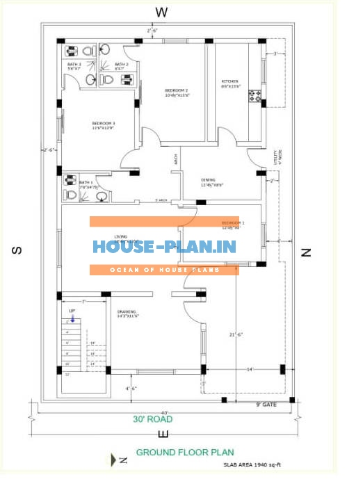 south facing house plan 40×65 ground floor 1