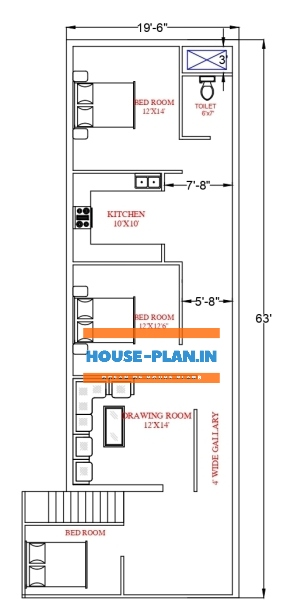 two bedroom house plan 19×63