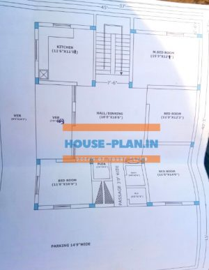 west facing house vastu plan 45×57