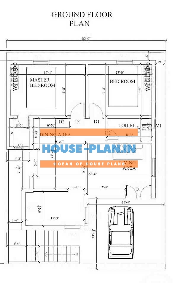 1200 sq ft house plan with living and dining room , kitchen , 2 bedroom and one master bedroom , one common toilet, balcony section best house plan