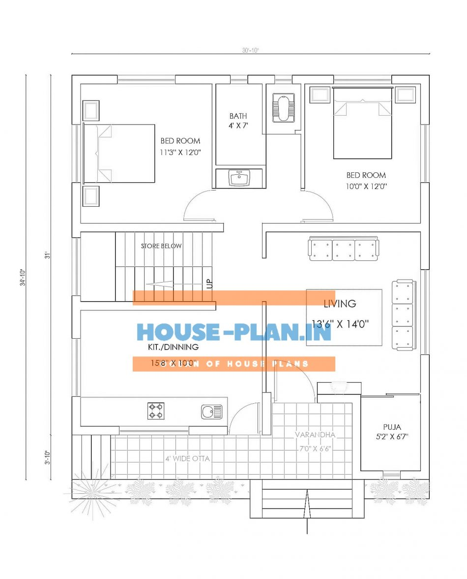 2bhk house plan east facing with varandha , 2bedroom , living hall, and toilet and kitchen & dinning hall , pooja room , best 30*34 ft house plan