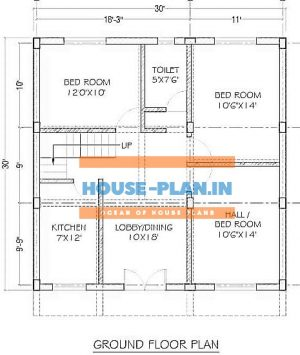 30x30 house plan with dining room , 2 bedroom ,and kitchen ,one toilet ,hall and bedroom attached best 900 sqft house plan