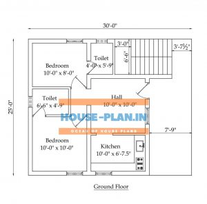 750 sq ft house plan with 2 bedroom , living hall, two attached toilet ,and kitchen , open sapace 30*25 ft house plan