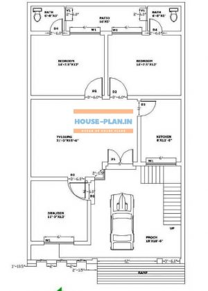 double bed room house plan