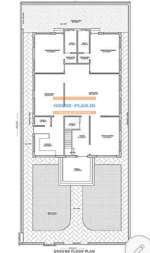 house plan india with lawn area , porch, drawing room, living area, dining hall, 2 master bedroom, two attached toilet, dressing area, and kitchen, storeroom, common toilet, and parking area house plan