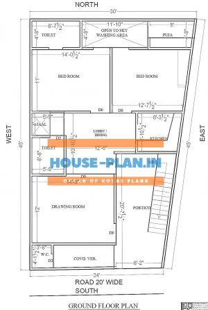 south facing house plan as per Vastu with portico, drawing room and dining room, 2 bedrooms, one common toilet, kitchen, and pooja room best house plan