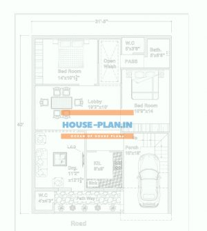 2 bhk house plan drawings