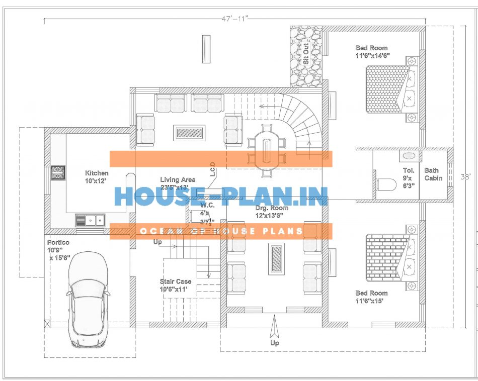 2 room house plan